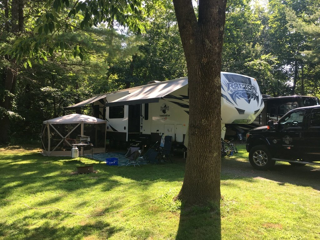 Creekside campsite at Rondout Valley Thousand Trails campground in New York